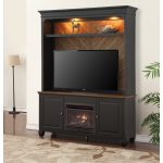 Antique Black TV Stand with Fireplace and Hutch – Brighton Hickory