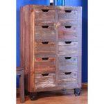 Antique Pine & Metal 10-Drawer Storage Console