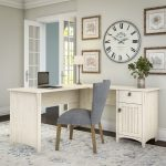 Antique White L-Shaped Desk with Storage – Salinas