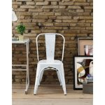 Antique White Metal Cafe Chair