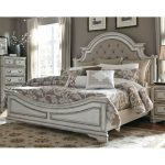 Antique White Traditional Upholstered King Size Bed – Magnolia Manor