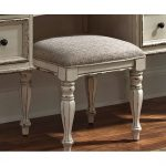 Antique White Traditional Vanity Stool – Magnolia Manor