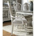 Antique White Upholstered Dining Arm Chair – Magnolia Manor Collection