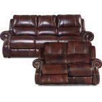 Auburn Leather-Match Manual Reclining Sofa & Loveseat – Nailhead
