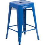 Backless Blue Metal Square Seat 24 Inch Counter Stool