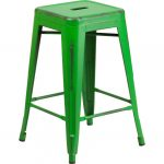 Backless Distressed Green Square Seat 24 Inch Counter Stool
