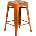 Backless Distressed Orange Square Seat 24 Inch Counter Stool