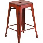 Backless Distressed Red Square Seat 24 Inch Counter Stool