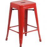 Backless Red Metal Square Seat 24 Inch Counter Stool