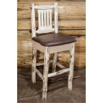 Barstool w/ Back Upholstered Seat, Saddle Pattern – Montana