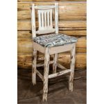 Barstool w/ Back Upholstered Seat, Wildlife Pattern – Montana