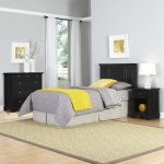 Bedford Black Twin Headboard, Nightstand, and Chest