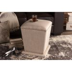 Beige Upholstered Ottoman With Nail Head Trim