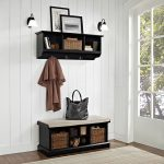Black 2 Piece Entryway Bench and Shelf Set – Brennan