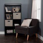 Black 4-Shelf Bookcase with 2 Storage Bins – Axess