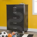 Black 5-Drawer Chest with Race Track Decals – Luka