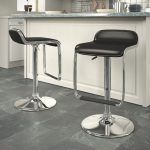 Black Adjustable Bar Stool with Footrest (Set of 2)