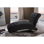 Black Button Tufted Chaise Lounge