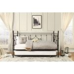 Black Classic Contemporary Metal Daybed with Trundle – Alexis