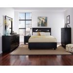Black Contemporary 6 Piece Full Bedroom Set – Diego