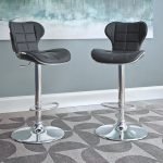 Black Diamond Tufted Adjustable Bar Stool (Set of 2)