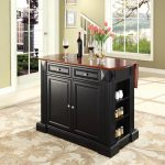 Black Drop Leaf Breakfast Bar Top Kitchen Island – Coventry