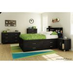Black Full Captain Bed with 4 Drawers (54 Inch) – Lazer