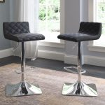 Black Leather Adjustable Bar Stool (Set of 2)