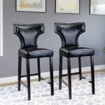 Black Leather Contemporary Bar Stool (Set of 2)