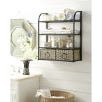 Black Metal Wall Storage Unit with 2 Baskets