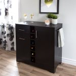 Black Oak Bar Cabinet with Bottle and Glass Storage – Vietti