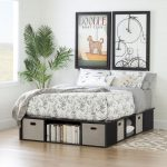 Black Oak Full Platform Bed with Storage and Baskets – Flexible