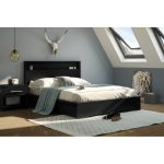 Black Queen Platform Bed with 2 Drawers – Basic
