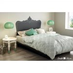 Black Queen Platform Bed with Decal Headboard (60 Inch) – Step One