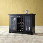 Black Sliding Top Bar Cabinet – Alexandria