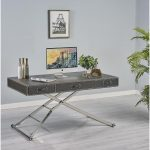 Black Synthetic Ostrich Leather Adjustable Sit or Stand Work Desk