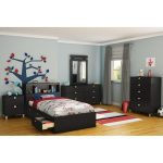 Black Twin Mates Bed and Bookcase Headboard – Spark