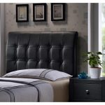 Black Upholstered Queen Size Headboard – Lusso