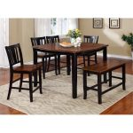 Black and Cherry 6 Piece Counter Height Dining Set with Bench – Dover