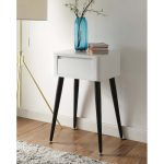 Black and Glossy White End Table