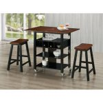 Black and Mahogany Kitchen Island and 2 Stools – Phoenix