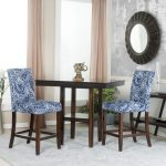 Blue and White Upholstered Counter Stools (Set of 2)