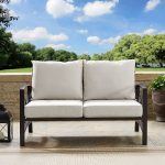 Bronze and Tan Outdoor Patio Loveseat – Kaplan