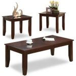 Brown 3-Piece Coffee Table Set – Vincent