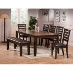 Brown 6-Piece Dining Set with Bench – Elliott
