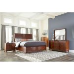 Brown Cherry Mid-Century Modern 6 Piece California King Bedroom.