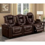 Brown Leather-Match 3-Piece Power Home Theater Seating – Big-Chief