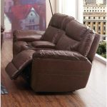Brown Leather-Match Power Reclining Loveseat With Console – K-Motion
