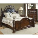 Brown Ornate Traditional Queen Size Bed – Rosanna