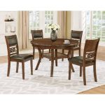 Brown Traditional 5-Piece Round Dining Set – Cally